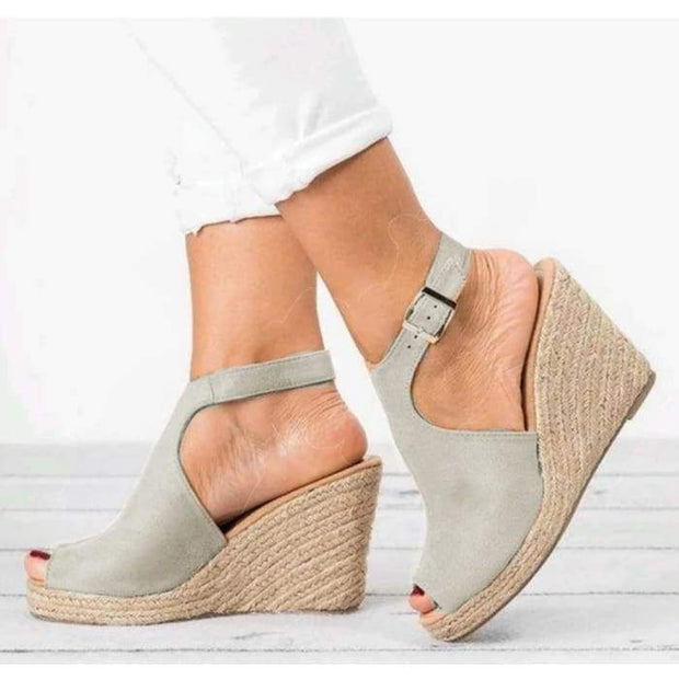 Peep Toe Espadrille Wedges - Khaki / UK3.5 - Wedges Footsylicious