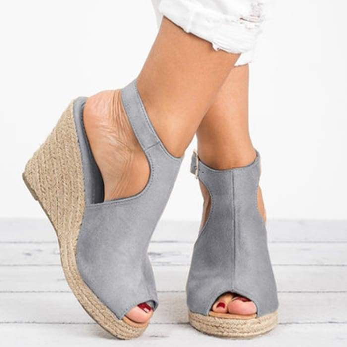 Suede Peep Toe Ankle Strap Espadrille Wedges - Gray / UK6 - Wedges Footsylicious