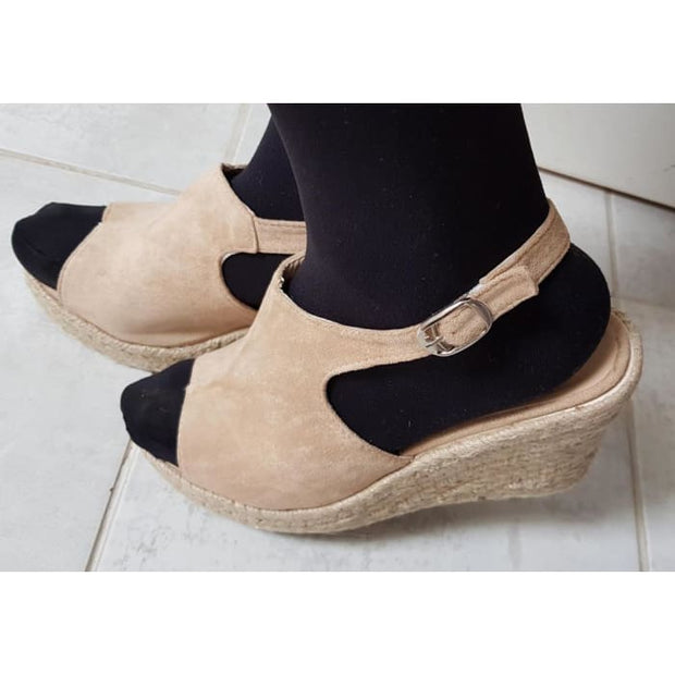 Peep Toe Espadrille Wedges - Light Tan / UK3.5 - Wedges Footsylicious