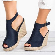 Suede Peep Toe Ankle Strap Espadrille Wedges - Navy / UK6 - Wedges Footsylicious