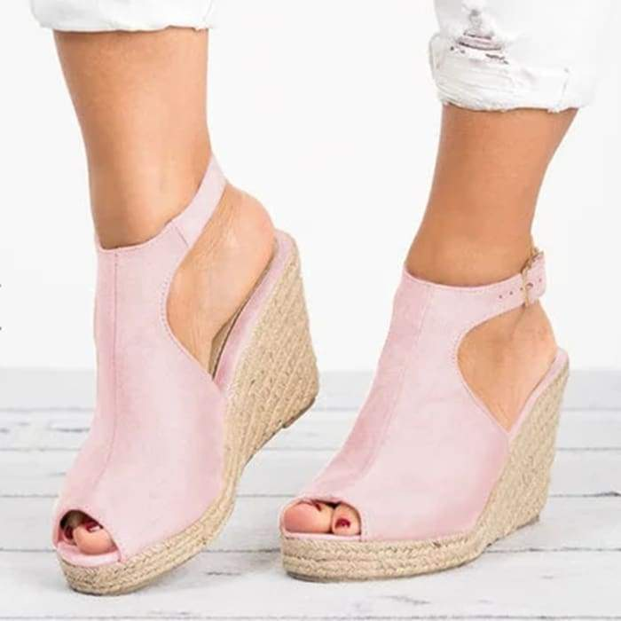 Suede Peep Toe Ankle Strap Espadrille Wedges - Pink / UK5.5 - Wedges Footsylicious