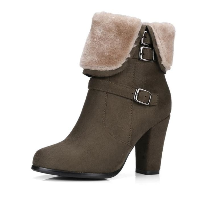 Plush Ankle Boots - Army Green / UK3 - Footsylicious