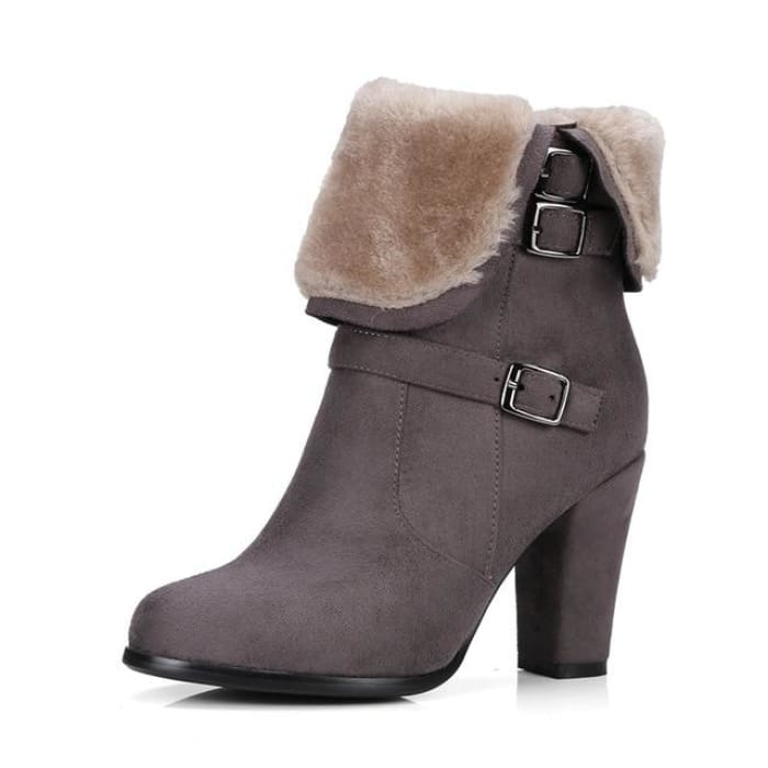 Plush Ankle Boots - Dark Grey / UK3 - Footsylicious