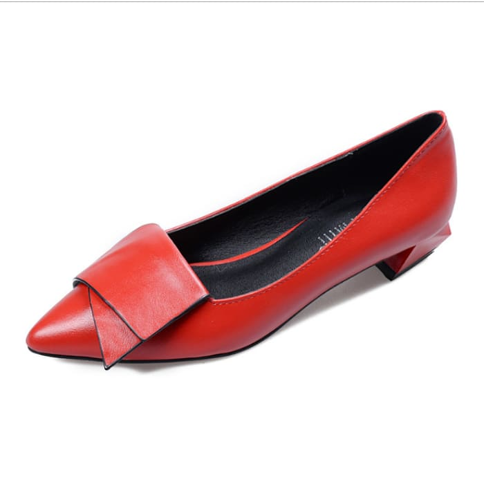 Pointed Toe Low Heel Shoes - Red / UK3 - Flat Shoes Footsylicious