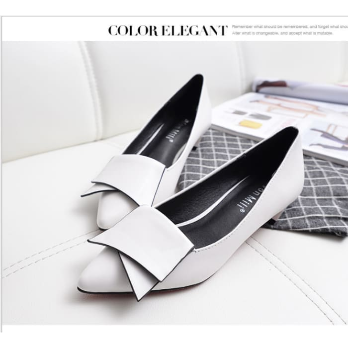 Pointed Toe Low Heel Shoes - White / UK5.5 - Flat Shoes Footsylicious