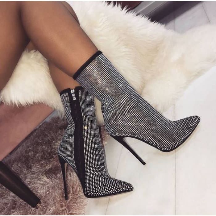 Rhinestone Zip Up High Heel Boots - Ankle Boots Footsylicious
