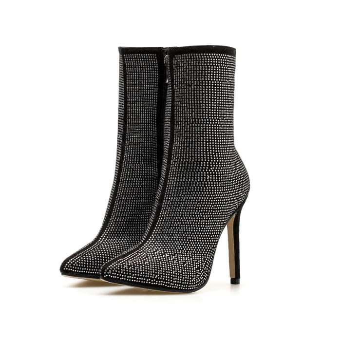 Rhinestone Zip Up High Heel Boots - Black / UK7 - Ankle Boots Footsylicious