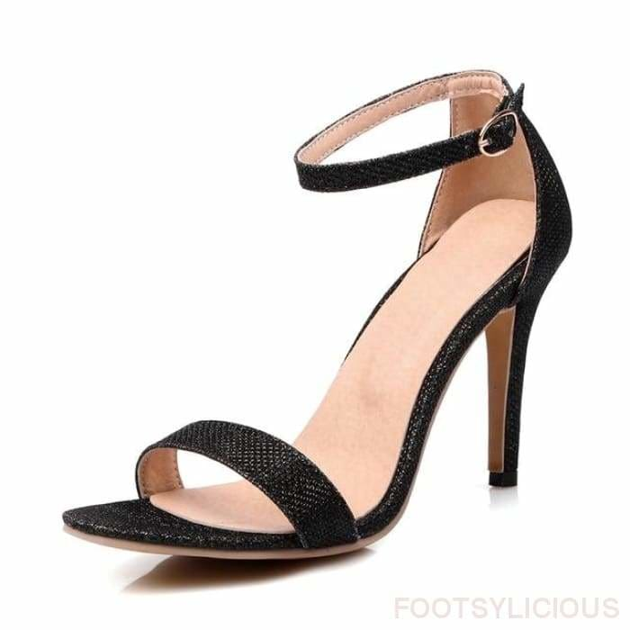 Riley Ankle Strap Sandals - Black / UK2.5 - Footsylicious