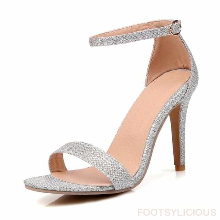 Riley Ankle Strap Sandals - Silver / UK2.5 - Footsylicious