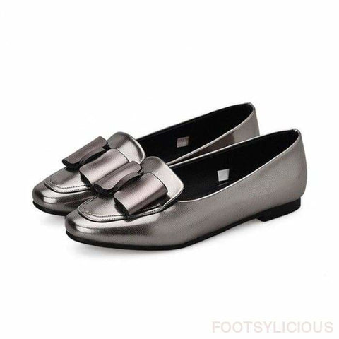 Rita Bow-Knot Flat - Silver / UK2.5 - Delivered within 2 - 3 weeks - Flat Shoes Footsylicious