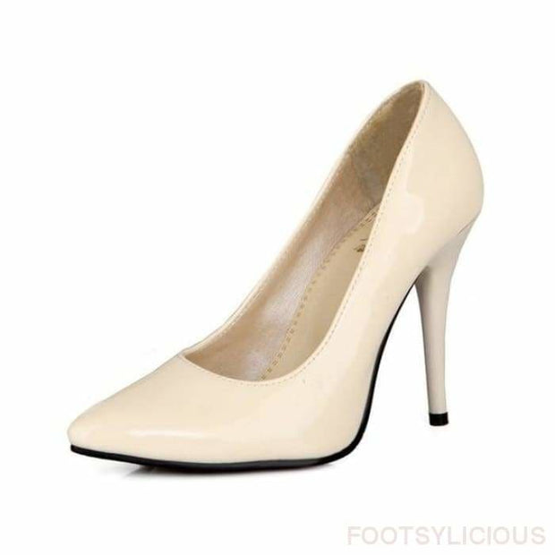 Salma Patent Pumps - Beige / UK8 - Shoes Footsylicious