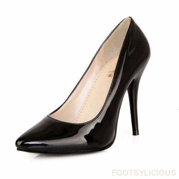 Salma Patent Pumps - Black / UK8 - Shoes Footsylicious