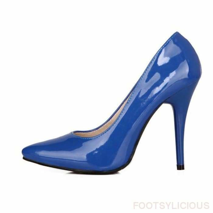 Salma Patent Pumps - Blue / UK8 - Shoes Footsylicious