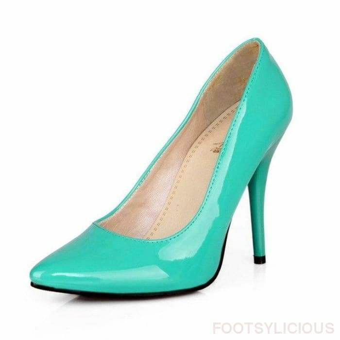Salma Patent Pumps - Green / UK8 - Shoes Footsylicious