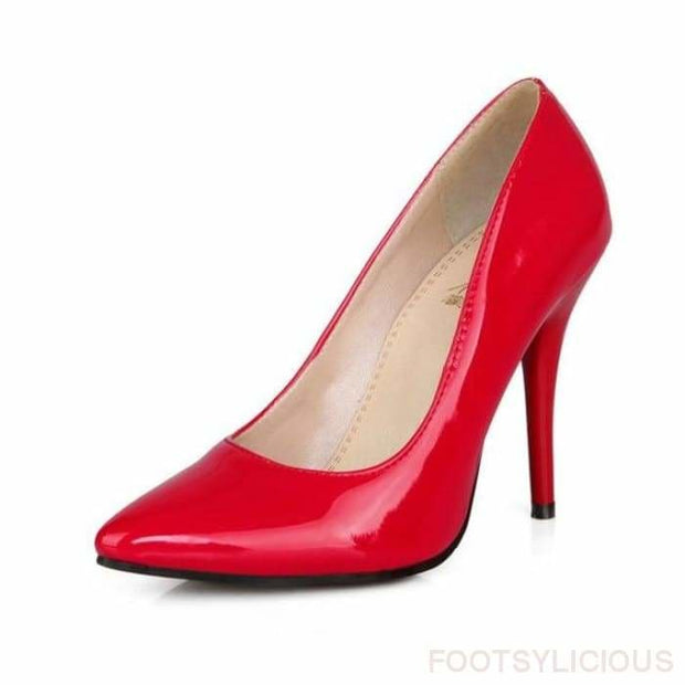 Salma Patent Pumps - Red / UK8 - Shoes Footsylicious