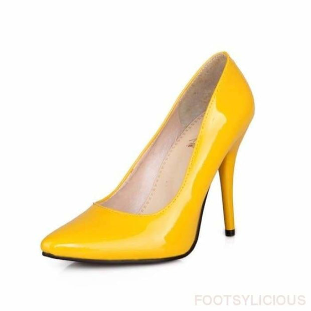 Salma Patent Pumps - Yellow / UK8 - Shoes Footsylicious