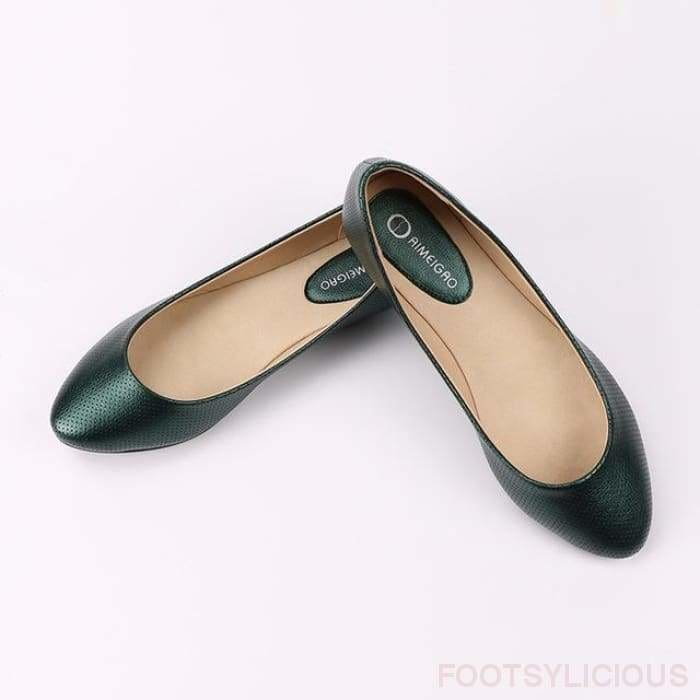 Sara Flat Slip On - Green / UK4.5 - Delivered within 2 - 3 weeks - Flat Shoes Footsylicious