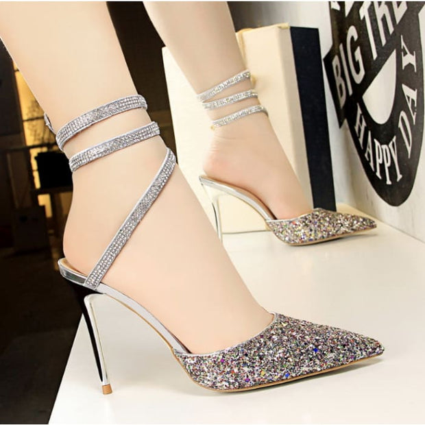 Sequined High Heel Sandals - Colorful / UK4.5 - Footsylicious