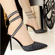 Sequined High Heel Sandals - Footsylicious