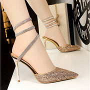 Sequined High Heel Sandals - Gold / UK3.5 - Footsylicious