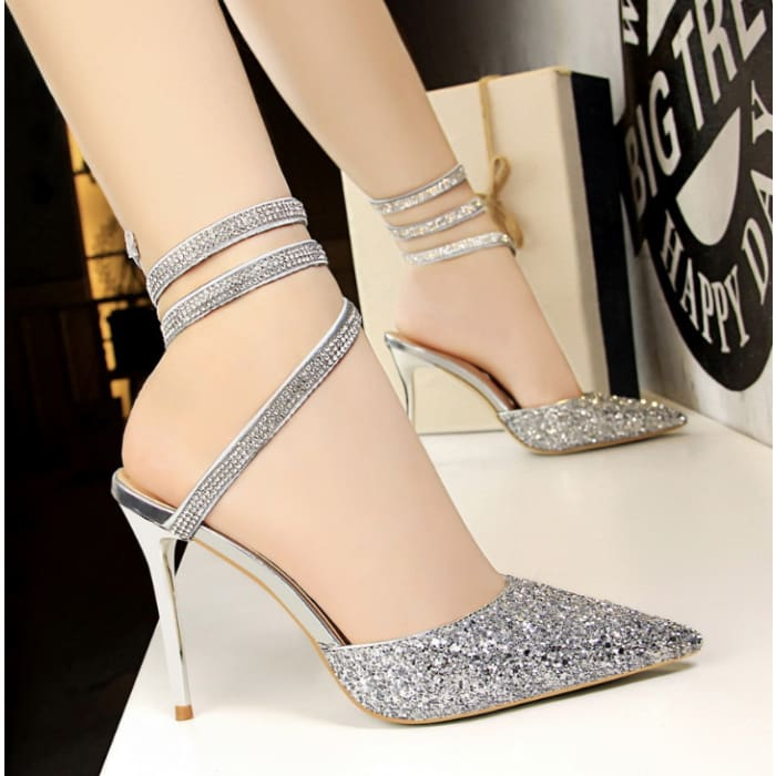 Sequined High Heel Sandals - Silver / UK6 - Footsylicious