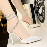 Sequined High Heel Sandals - White / UK3.5 - Footsylicious