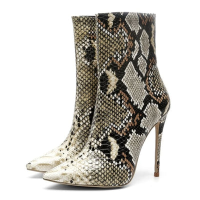 Snake Effect Thin Heel Ankle Boots - Yellow / UK4 - Footsylicious