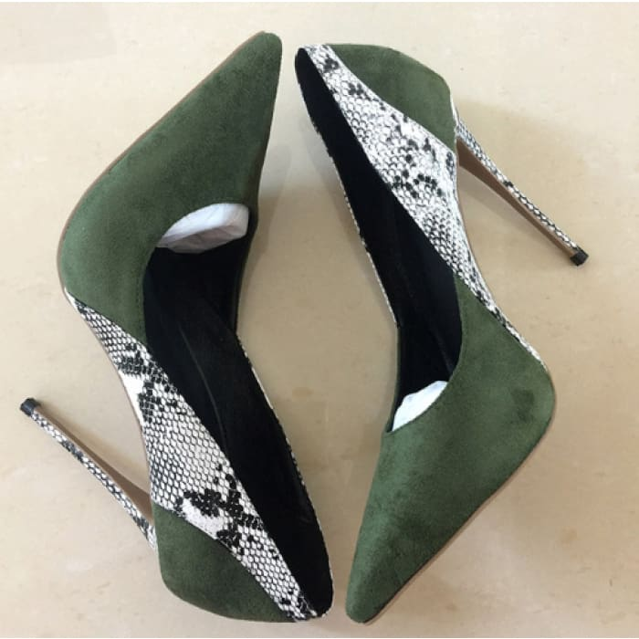 Snake Print High Heel Court Shoes - Green / UK3 - Shoes Footsylicious