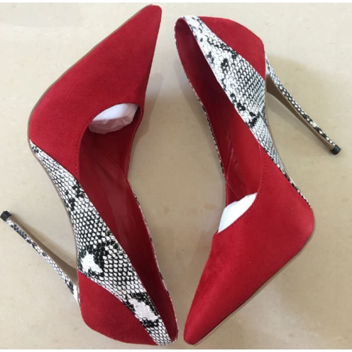 Snake Print High Heel Court Shoes - Red / UK3 - Shoes Footsylicious
