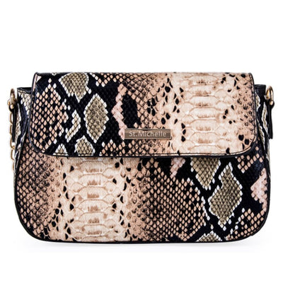 Snakeskin Pattern Shoulder Bag - Brown - Handbag Footsylicious