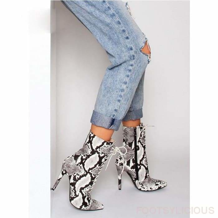 Sola Snakeskin Pattern Boots - Ankle Boots Footsylicious