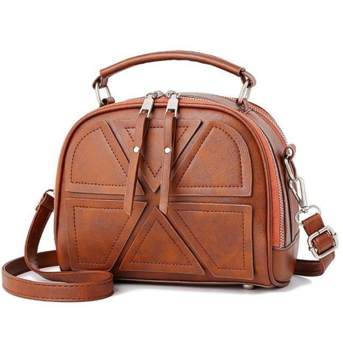 Solid Crossbody Bag - Brown - Handbag Footsylicious