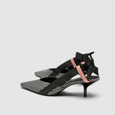 Stripe Bow Tie Slip-ons - Black / UK5 - Shoes Footsylicious