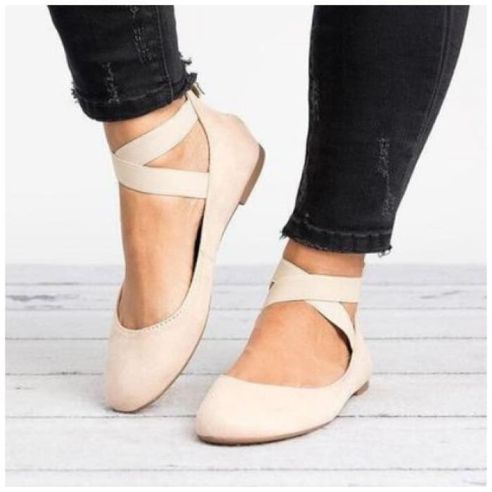 Suede Ankle Strap Round Toe Flat - Beige / UK4.5 - Flat Shoes Footsylicious