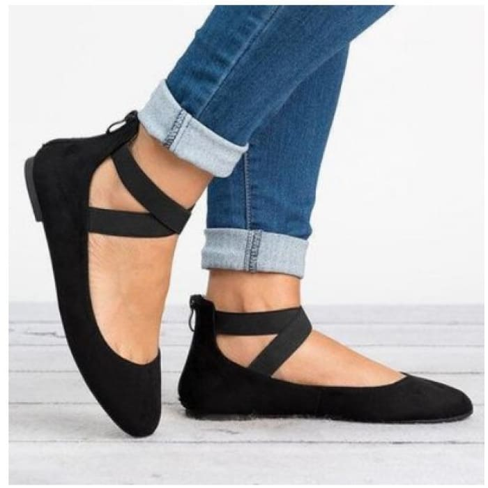 Suede Ankle Strap Round Toe Flat - Black / UK7 - Flat Shoes Footsylicious