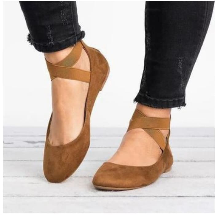 Suede Ankle Strap Round Toe Flat - Brown / UK6 - Flat Shoes Footsylicious