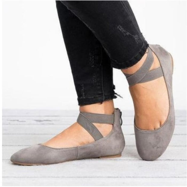 Suede Ankle Strap Round Toe Flat - Gray / UK6 - Flat Shoes Footsylicious
