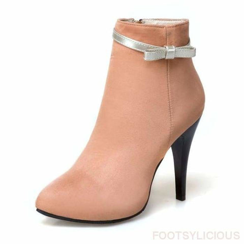 Sweet-bow Ankle Boots - apricot / UK2.5 - Footsylicious