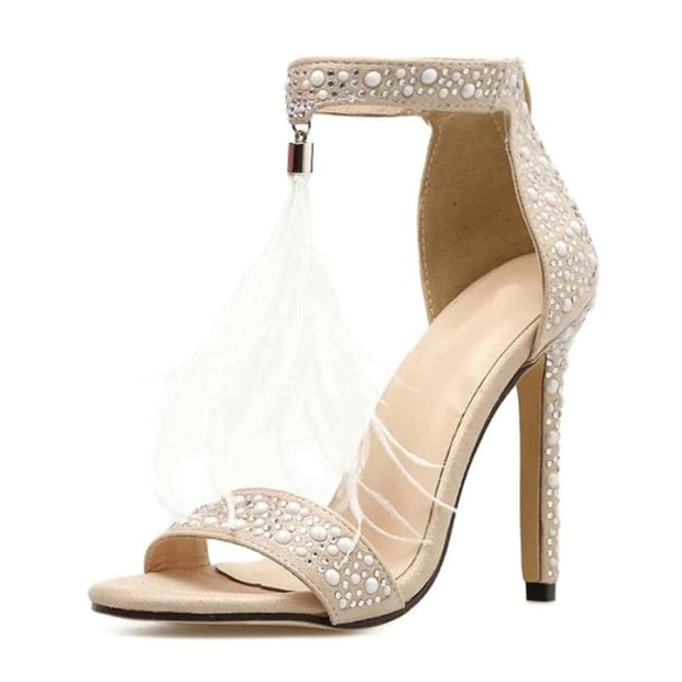 Tassel High Heel Sandals - White / UK3.5 - Shoes Footsylicious