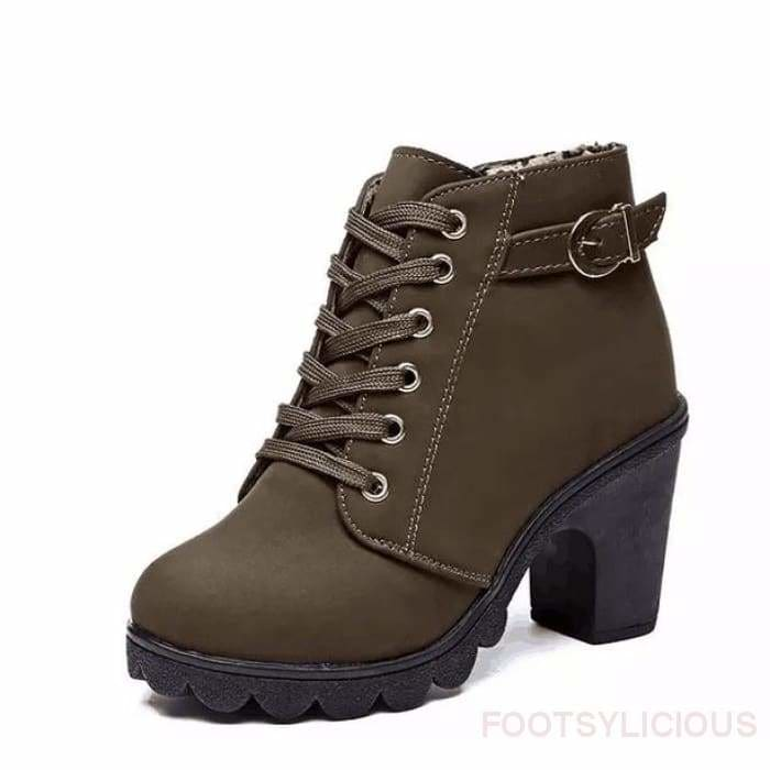 Tola Ankle Boots - Army Green / UK4 - Footsylicious
