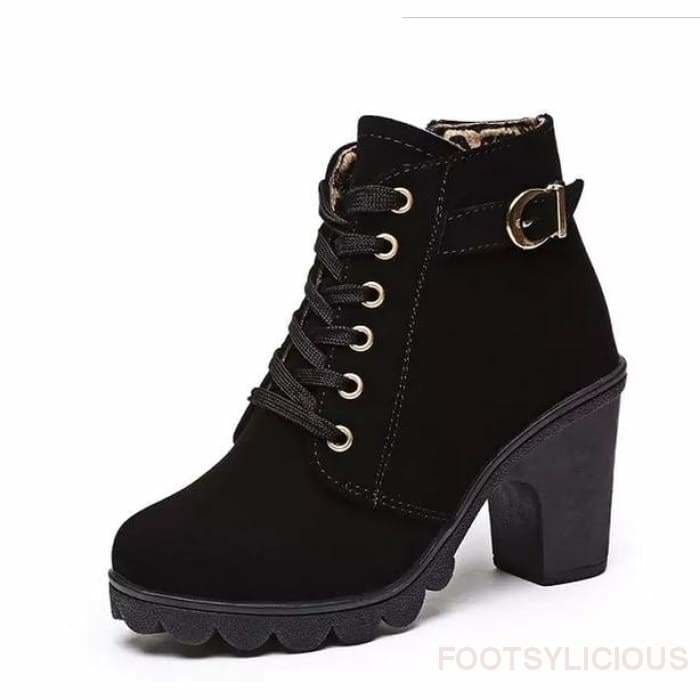 Tola Ankle Boots - Black / UK4 - Footsylicious