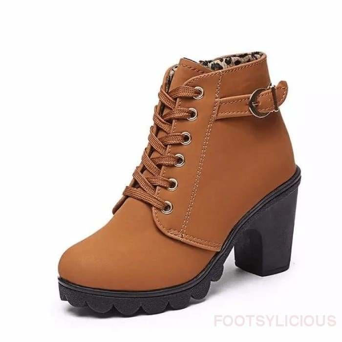 Tola Ankle Boots - Brown / UK4 - Footsylicious