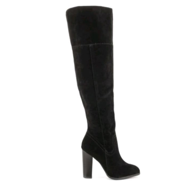 Trendy Knee-High Suede Boots - Black / UK4 - Knee High Boots Footsylicious