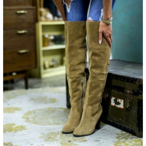 Trendy Knee-High Suede Boots - Green / UK5.5 - Knee High Boots Footsylicious