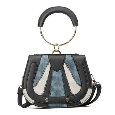 Tri-color Panels Ring Handle Bag - Handbag Footsylicious