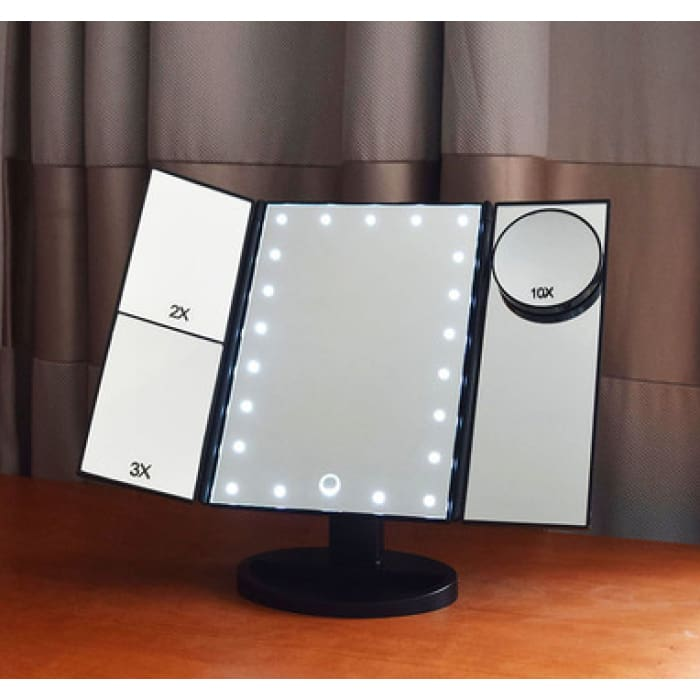 Trifold LED Illuminated Magnifying Makeup Mirror - Black - Health & Beauty Hair / Makeup / Makeup Brushes Footsylicious