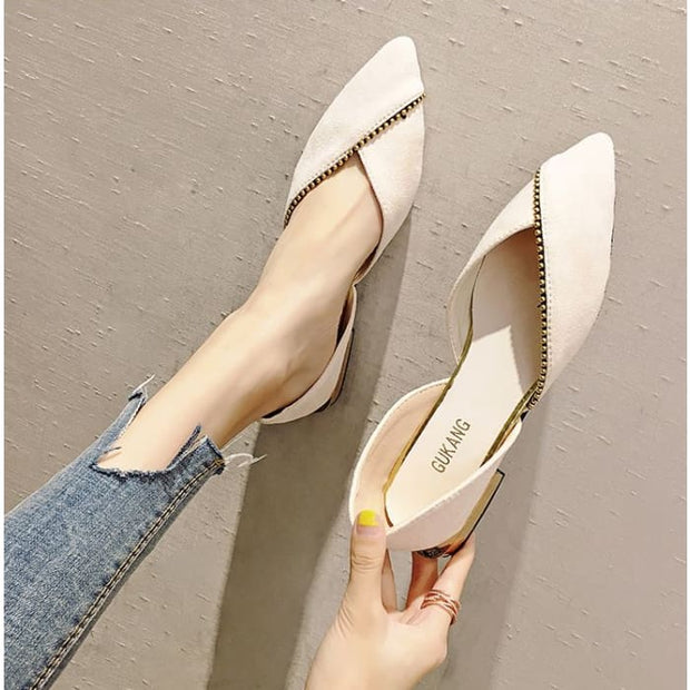 Unique Overlap DOrsay Flats - Beige / UK4.5 - Flat Shoes Footsylicious
