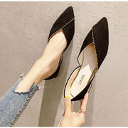 Unique Overlap DOrsay Flats - Black / UK3.5 - Flat Shoes Footsylicious