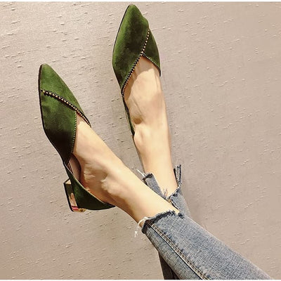 Unique Overlap DOrsay Flats - Green / UK4.5 - Flat Shoes Footsylicious