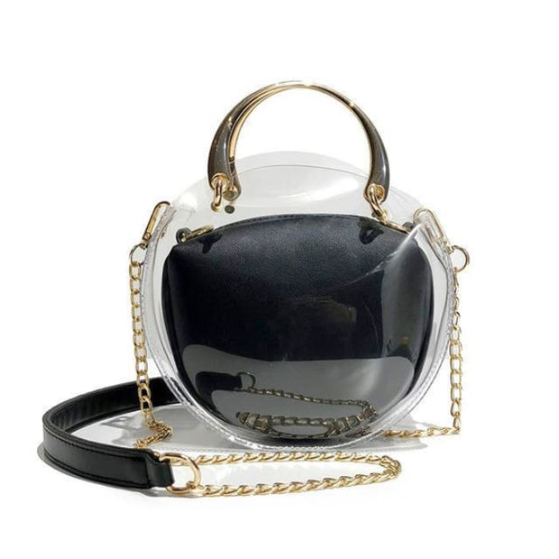 Unique Transparent Bag-in-Bag Set - Black - Handbag Footsylicious